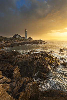 Sunrise Photograph - Portland Head Light by Joseph Rossbach