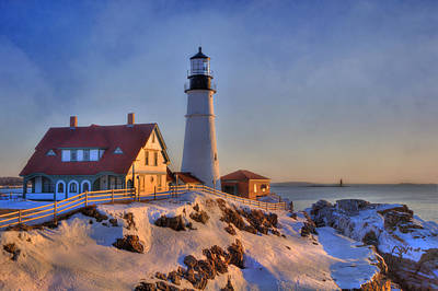 Winter In Maine Photograph - Portland Head Light - New England Lighthouse - Cape Elizabeth Maine by Joann Vitali