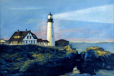 Painting - Portland Head Light Night Beacon by Cindy McIntyre