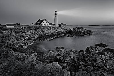 Portland Head Light Sunrise Bw Art Print
