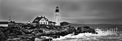 Photograph - Portland Head Lighthouse 2 Black And White by Glenn Gordon