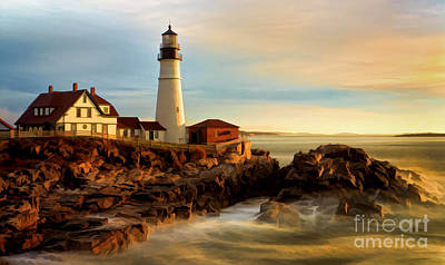 Portland Head Lighthouse At Dawn Art Print by Jerry Fornarotto