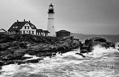 Photograph - Portland Head Lighthouse Black And White by Glenn Gordon