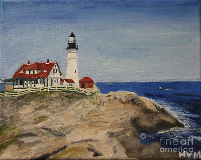 Painting - Portland Head Lighthouse In Maine by Marina McLain