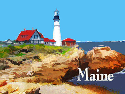 New England Lighthouse Painting - Portland Head Lighthouse Maine by Elaine Plesser