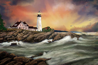 Digital Art - Portland Head Lighthouse by Mary Almond