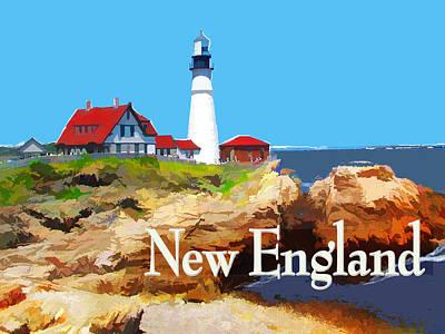 New England Lighthouse Painting - Portland Head Lighthouse New England by Elaine Plesser