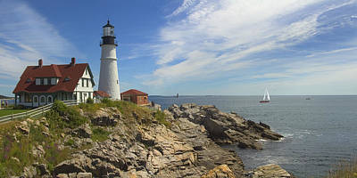 Sail Boat Photograph - Portland Head Lighthouse Panoramic by Mike McGlothlen
