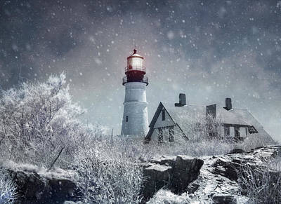 Photograph - Portland Head Lighthouse Snowstorm - Cape Elizabeth Maine by Joann Vitali