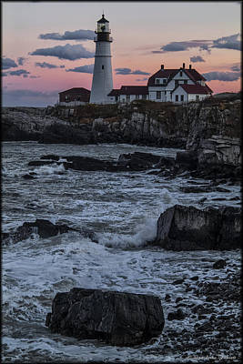 Photograph - Portland Head Lighthouse Sunset by Erika Fawcett