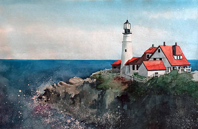 New England Lighthouse Painting - Portland Head by Sean Parnell