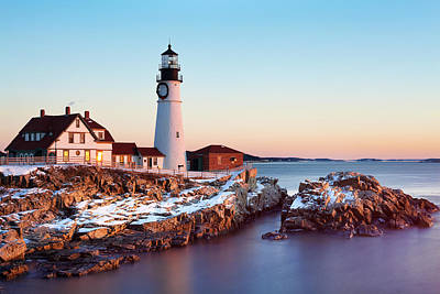 Christmas Holiday Scenery Photograph - Portland Head Winter Sunrise by Eric Gendron