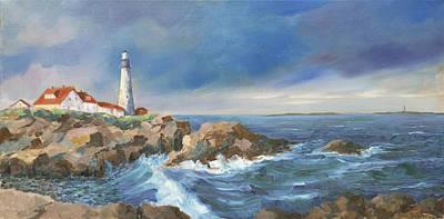 New England Lighthouse Painting - Portland Headlight by David  Drinon