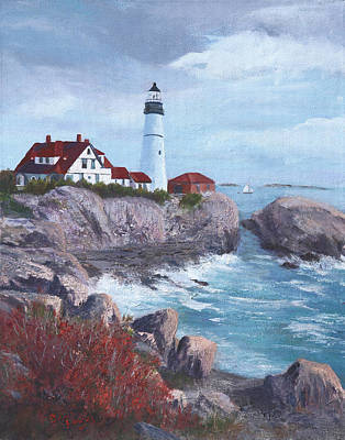 Maine Landscapes Painting - Portland Headlight In Maine by Bev Finger