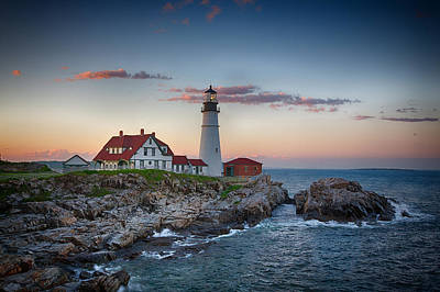 Photograph - Portland Headlight Sunset by John Haldane