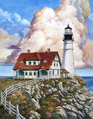 Portland Head Lighthouse Painting - Portland Light by Tom Wooldridge
