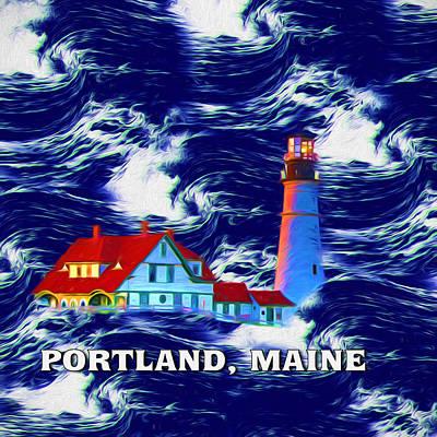 Headlight Mixed Media - Portland Maine by John Haldane