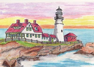 Portland Me Lighthouse Art Print by Paul Meinerth