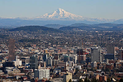 Photograph - Portland Oregon And Mt. Hood by Elizabeth Rose