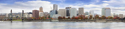 Outdoors Photograph - Portland Oregon Downtown Waterfront Fall Skyline by David Gn