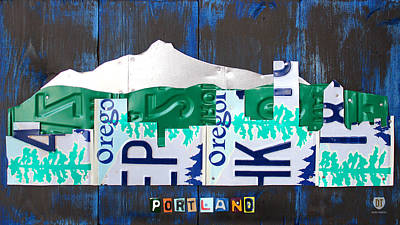 Mount Rushmore Mixed Media - Portland Oregon Skyline License Plate Art by Design Turnpike