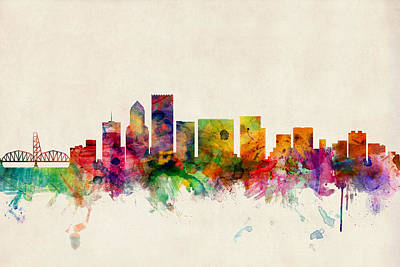 Watercolour Digital Art - Portland Oregon Skyline by Michael Tompsett