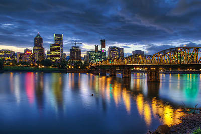Portland Oregon Waterfront At Blue Hour Art Print by David Gn