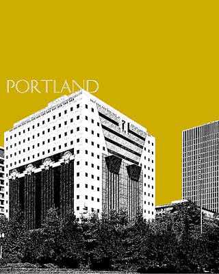 Oregon Art Digital Art - Portland Skyline Ficha Building - Gold by DB Artist