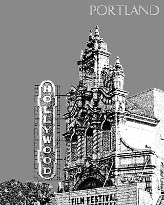 Oregon Art Digital Art - Portland Skyline Hollywood Theater - Pewter by DB Artist