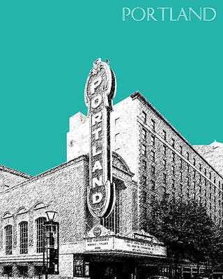 Oregon Art Digital Art - Portland Skyline Portland Theater - Teal by DB Artist