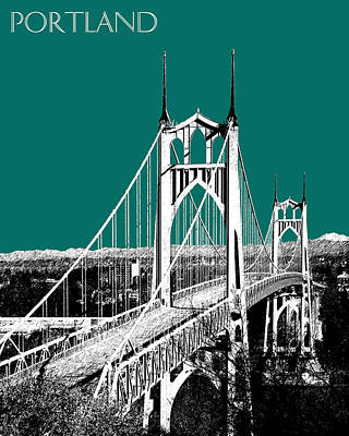 Oregon Art Digital Art - Portland Skyline St. Johns Bridge - Sea Green by DB Artist