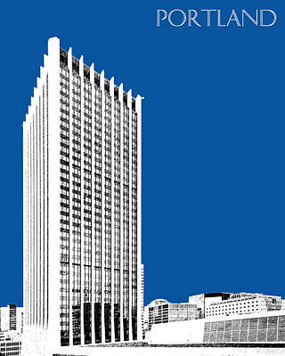 Oregon Art Digital Art - Portland Skyline Wells Fargo Building - Royal Blue by DB Artist