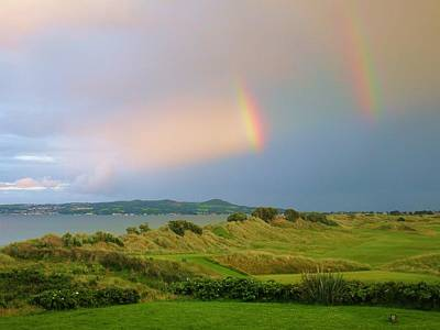 Golf Photograph - Portmarnock Golf Links - Double Rainbow by Scott Carda