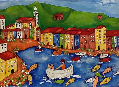 Portofino Italy Painting - Portofino by Annakie Jordaan