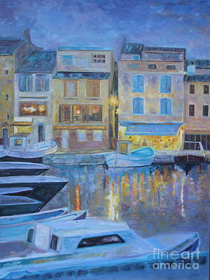 Portofino At Dusk Print by Barbara Lynn Dunn