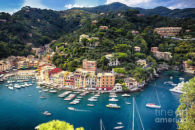 Portofino Birds Eye View Art Print by George Oze