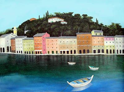 Portofino Italy Painting - Portofino By The Sea by Larry Cirigliano
