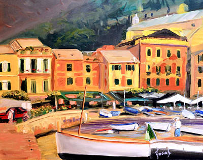 Portofino Italy Painting - Portofino Evening by Josef Kelly