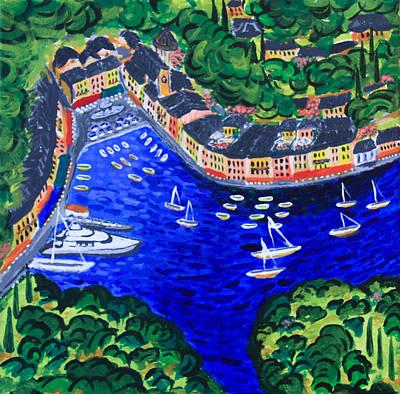 Portofino Italy Painting - Portofino by Evgenia Zarubin