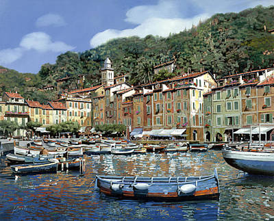 Boat Harbour Wall Art - Painting - Portofino by Guido Borelli