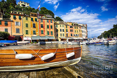 Portofino Harbor Close Up Print by George Oze