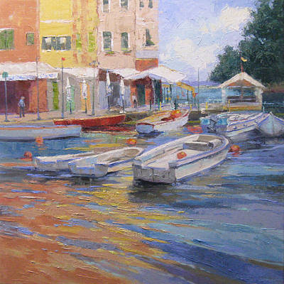 Portofino Italy Painting - Portofino Harbor by Sandy Nelson
