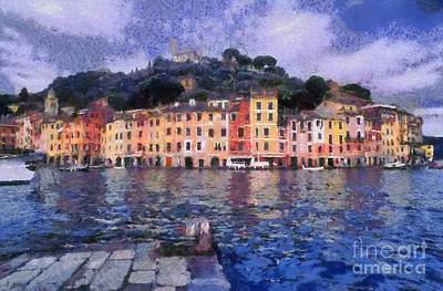 Painting - Portofino In Italy by George Atsametakis