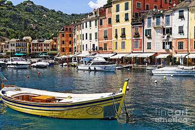 Portofino Inner Harbor View With Small Boats Art Print by George Oze