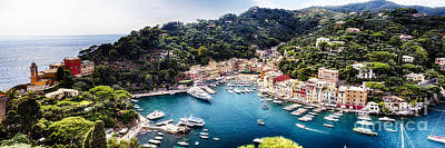 Portofino Panorama Art Print by George Oze