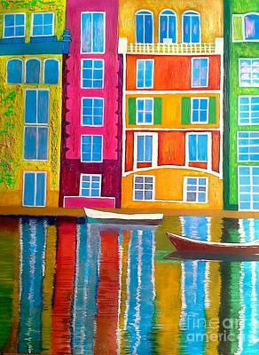 Portofino Italy Painting - Portofino Sailing Landscape by Rossana Kelton