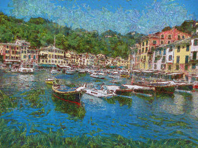 Portofino Italy Painting - Portofino Summer by GretchenArt FineArt