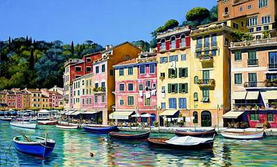 Outdoor Cafe Painting - Portofino Sunshine Sold by Michael Swanson