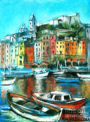 Harbor Painting - Portovenere by Mona Edulesco
