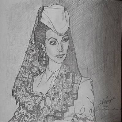 Canadiens Drawing - Portrait Actrice Vivien Leigh Gone With The Wind by SLMorgan